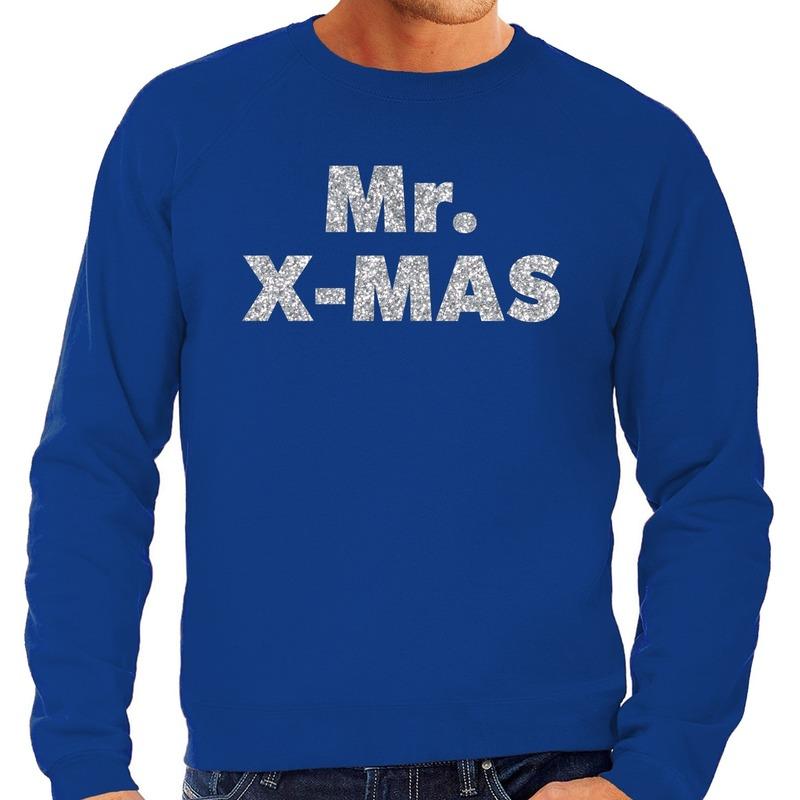 Foute kerstborrel trui / kersttrui Mr. x-mas zilver / blauw heren XL (54) Blauw