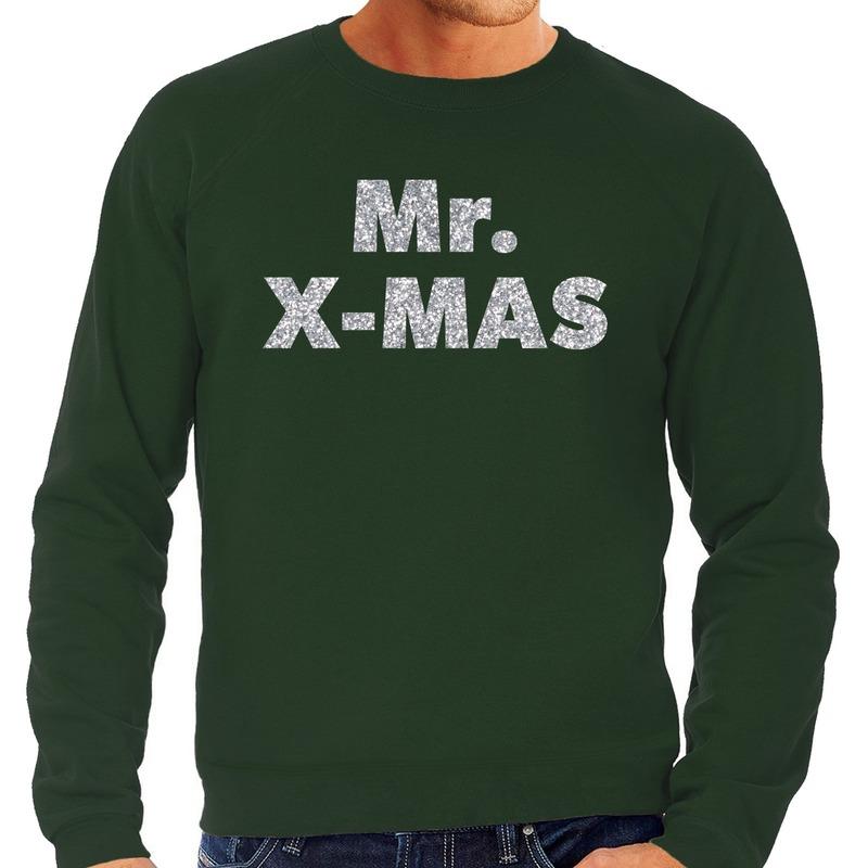 Foute kerstborrel trui / kersttrui Mr. x-mas zilver / groen heren L (52) Groen