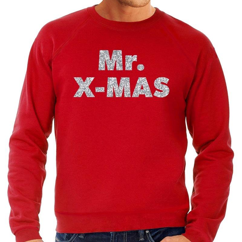 Foute kerstborrel trui / kersttrui Mr. x-mas zilver / rood heren XL (54) Rood
