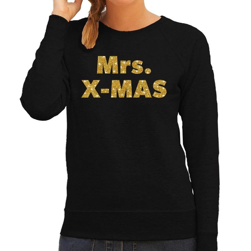 Foute kerstborrel trui / kersttrui Mrs. x-mas goud / zwart dames XS (34) Zwart