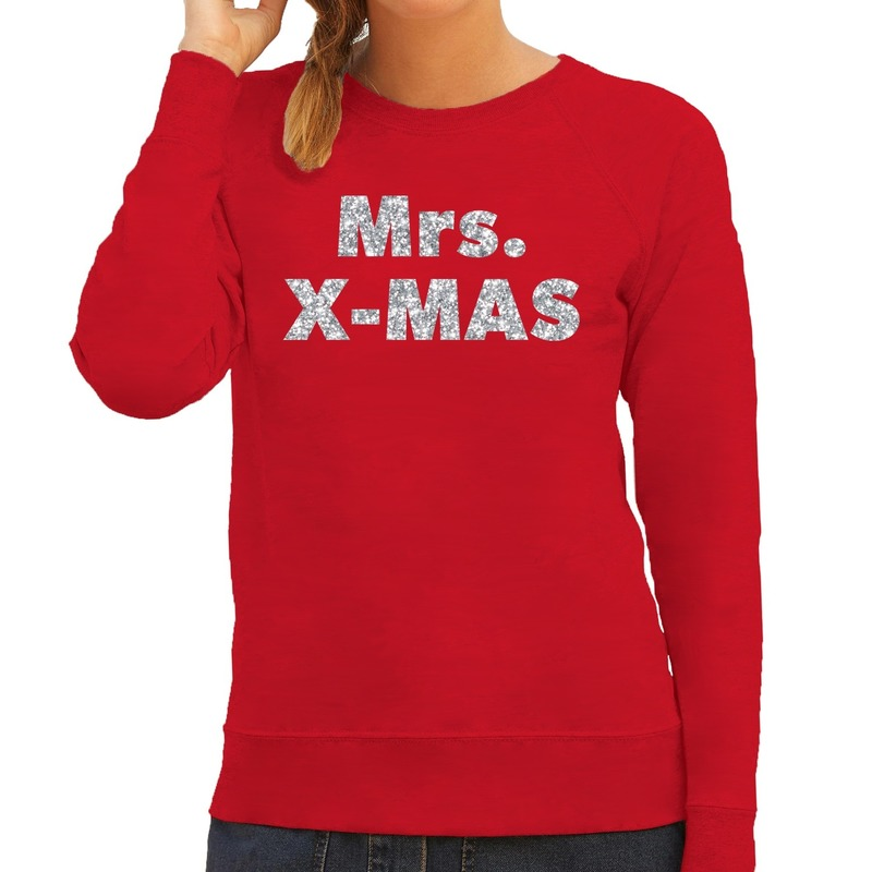 Foute kerstborrel trui / kersttrui Mrs. x-mas zilver / rood dames XS (34) Rood