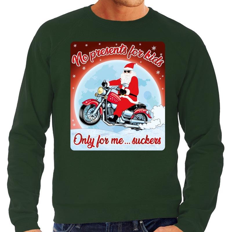 Foute kerstborrel trui / kersttrui no presents for kids groen voor motorrijders voor heren M (50) Groen
