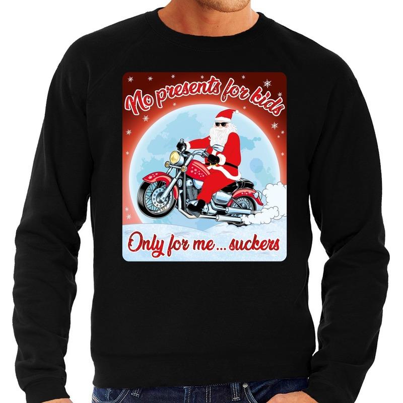 Foute kerstborrel trui / kersttrui no presents for kids zwart voor motorrijders voor heren L (52) Zwart