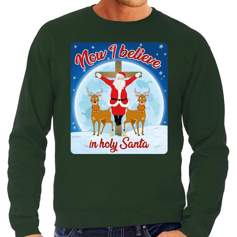 Foute kerstborrel trui / kersttrui Now i believe in holy Santa groen voor heren S (48) Groen