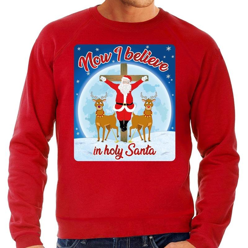 Foute kerstborrel trui / kersttrui Now i believe in holy Santa rood voor heren M (50) Rood