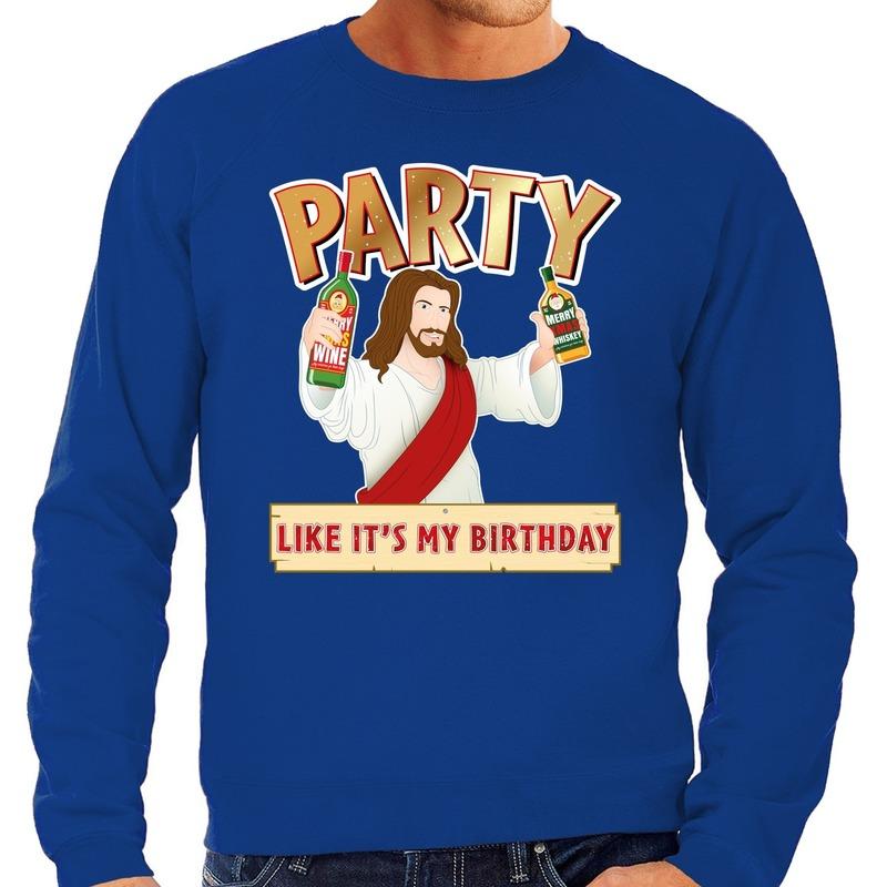 Foute kerstborrel trui / kersttrui Party Jezus blauw voor heren S (48) Blauw