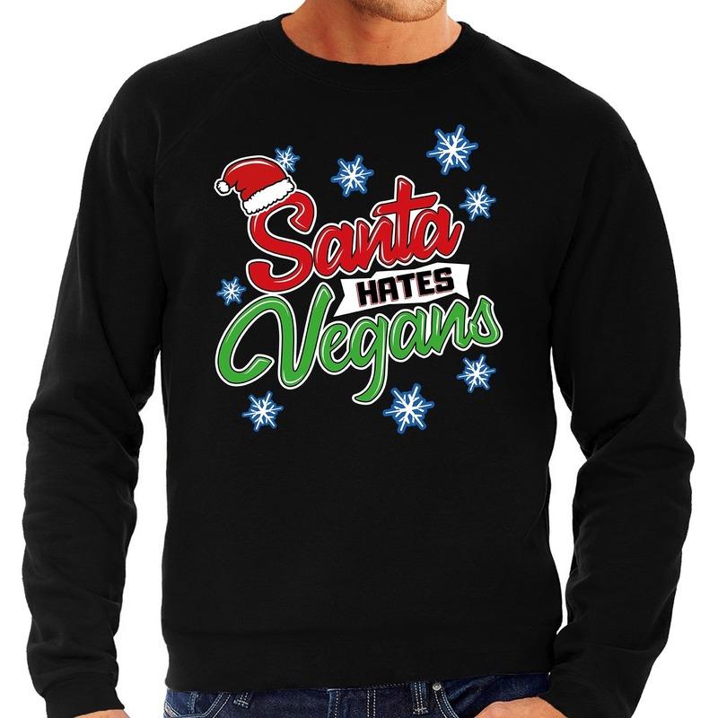Foute kerstborrel trui / kersttrui Santa hates vegans zwart voor heren L (52) Zwart