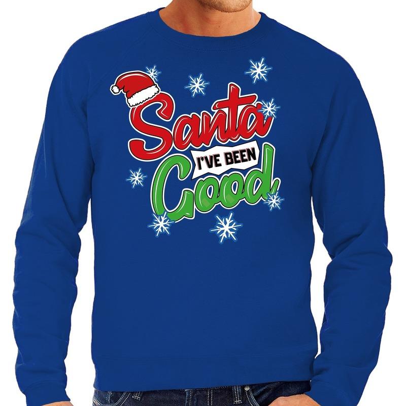 Foute kerstborrel trui / kersttrui Santa I have been good blauw voor heren L (52) Blauw