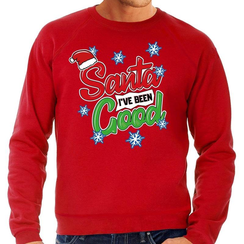 Foute kerstborrel trui / kersttrui Santa I have been good rood voor heren M (50) Rood