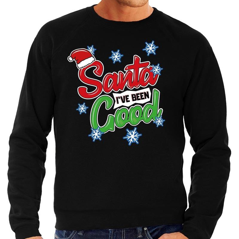 Foute kerstborrel trui / kersttrui Santa I have been good zwart voor heren S (48) Zwart
