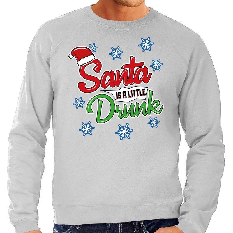 Foute kerstborrel trui / kersttrui Santa is a little drunk grijs voor heren S (48) Grijs