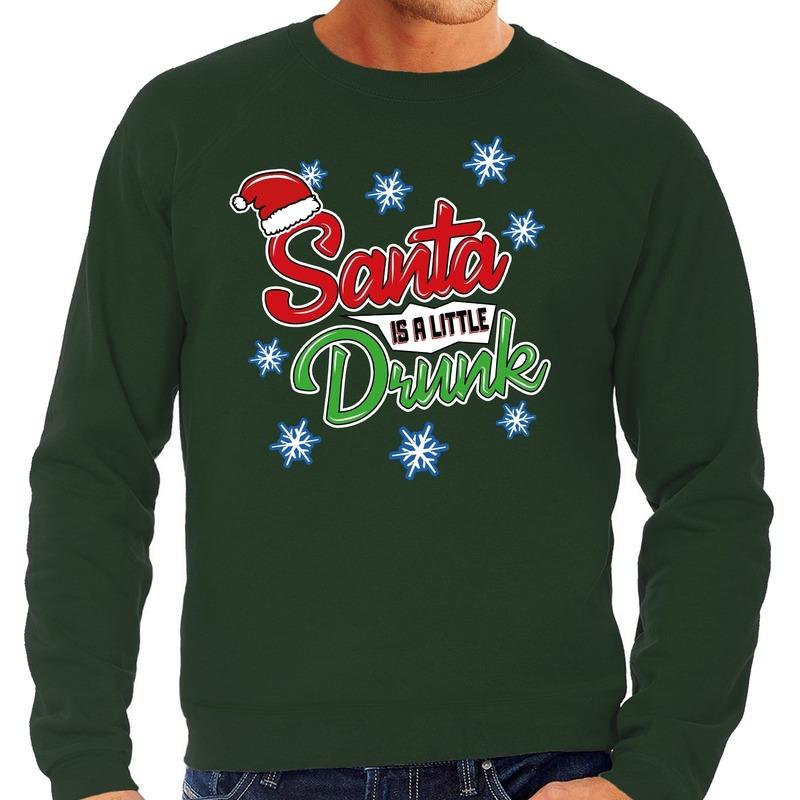 Foute kerstborrel trui / kersttrui Santa is a little drunk groen voor heren S (48) Groen