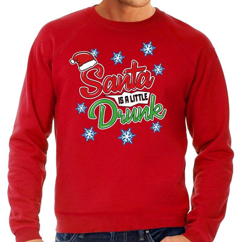 Foute kerstborrel trui / kersttrui Santa is a little drunk rood voor heren M (50) Rood