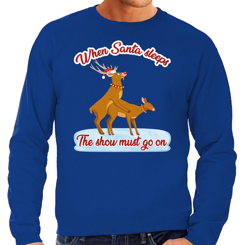 Foute kerstborrel trui / kersttrui seksende rendieren blauw voor heren L (52) Blauw