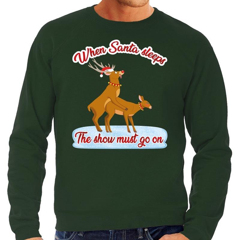 Foute kerstborrel trui / kersttrui seksende rendieren groen voor heren XL (54) Groen