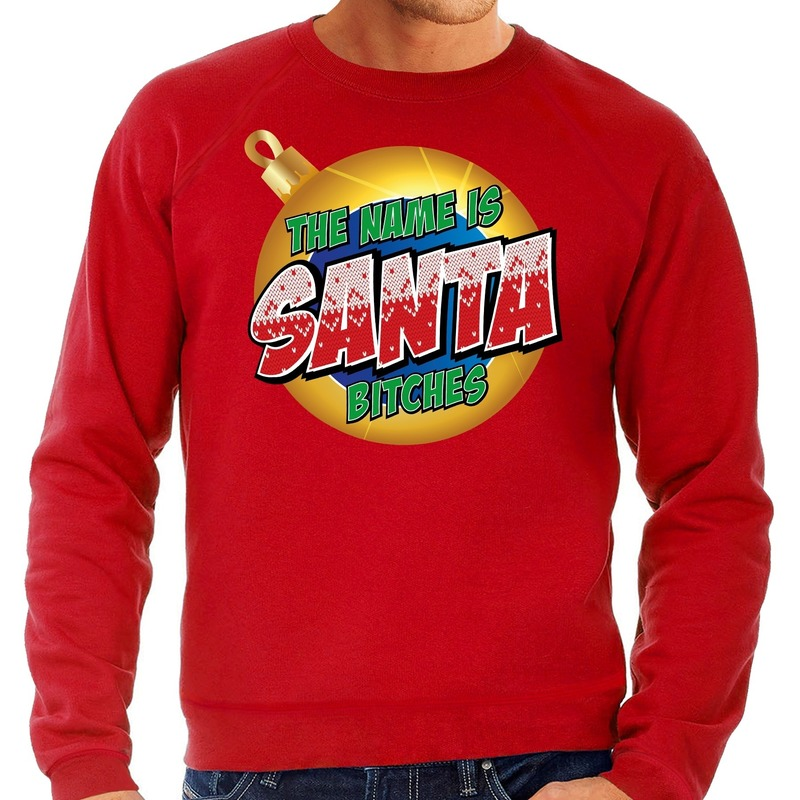 Foute kerstborrel trui / kersttrui The name is Santa bitches rood voor heren 2XL (56) Rood