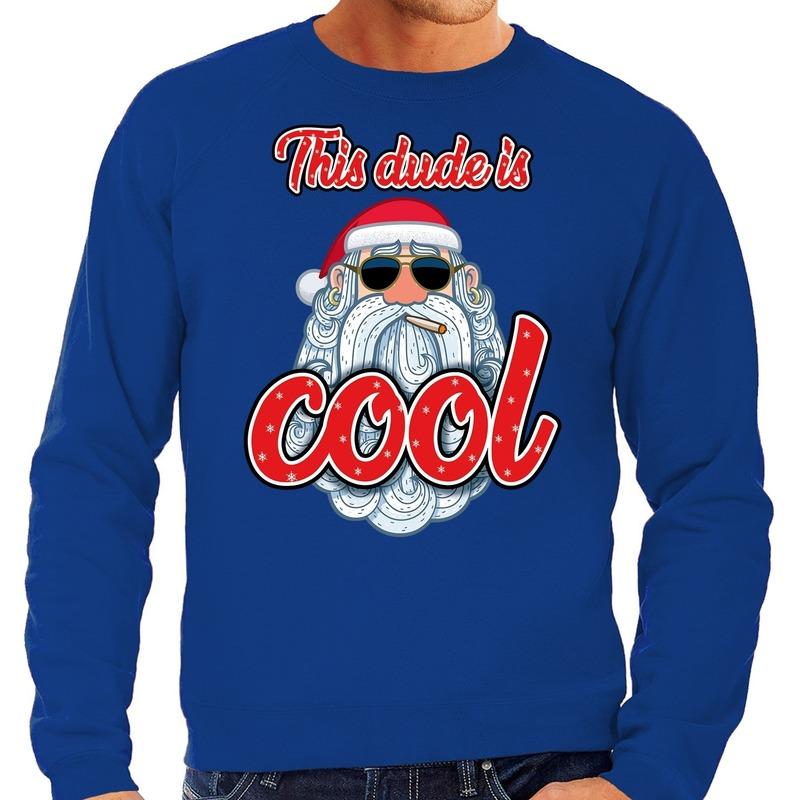 Foute kerstborrel trui / kersttrui this dude is cool / stoere santa blauw voor heren L (52) Blauw