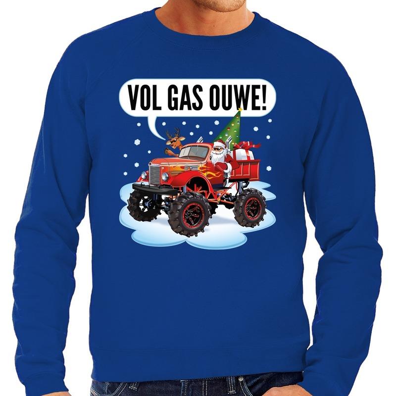 Foute kerstborrel trui / kersttrui vol ga ouwe / santa op monstertruck / truck blauw voor heren XL (54) Blauw