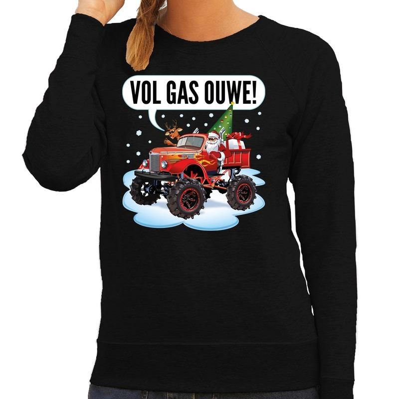 Foute kerstborrel trui / kersttrui vol ga ouwe / santa op monstertruck / truck zwart voor dames XL (42) Zwart