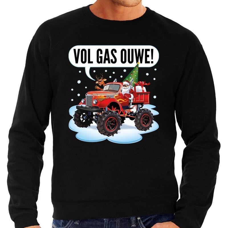 Foute kerstborrel trui / kersttrui vol ga ouwe / santa op monstertruck / truck zwart voor heren L (52) Zwart