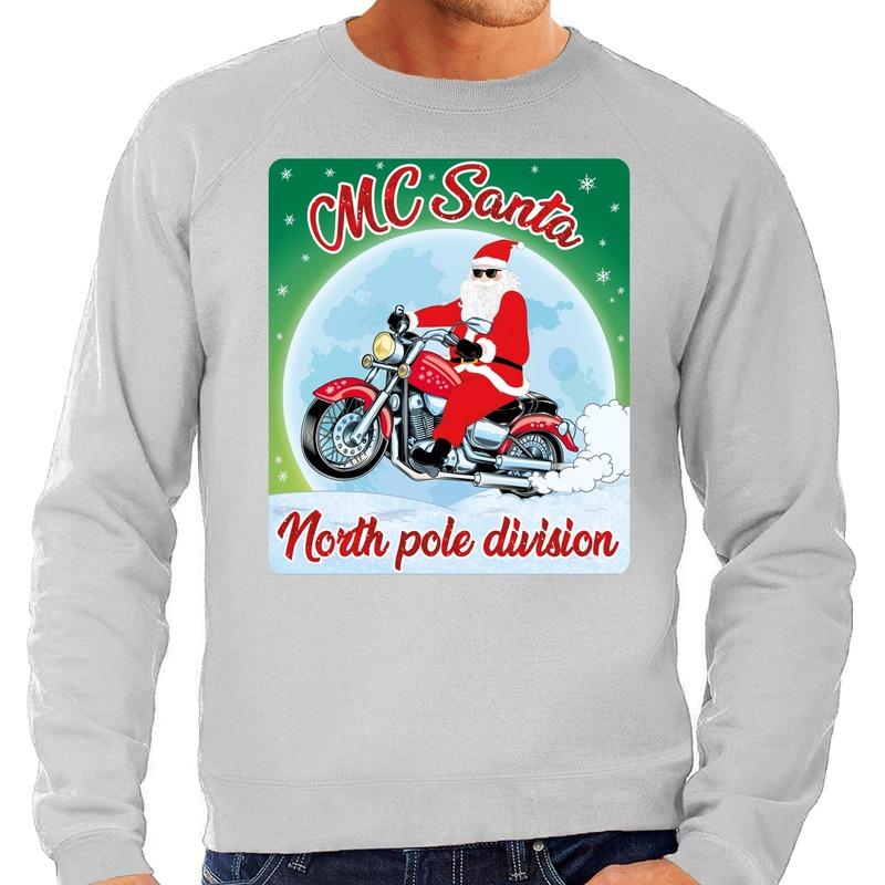 Foute kerstborrel trui / kersttrui voor motorrijders MC Santa grijs voor heren XL (54) Grijs