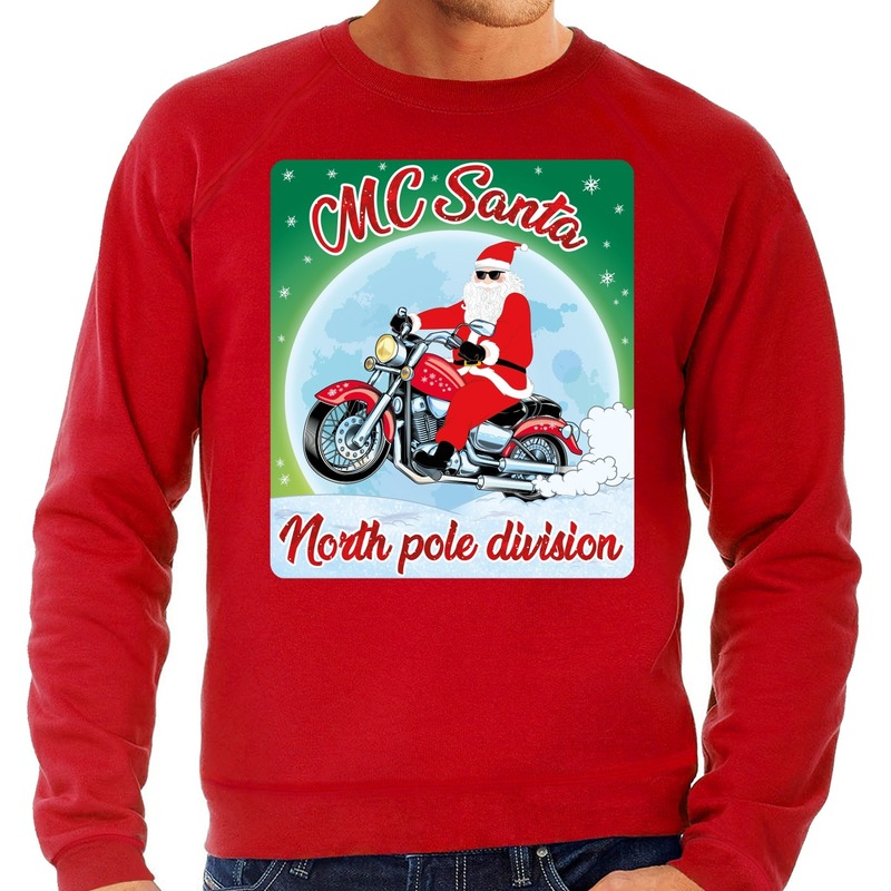 Foute kerstborrel trui / kersttrui voor motorrijders MC Santa rood voor heren L (52) Rood