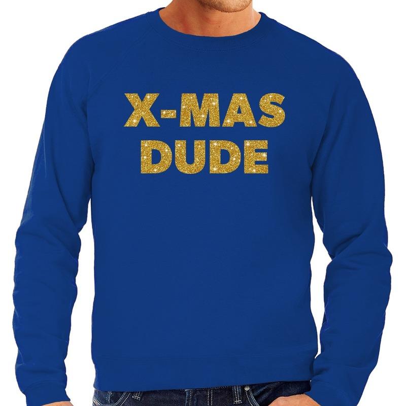 Foute kerstborrel trui / kersttrui x-mas dude goud / blauw heren 2XL (56) Blauw