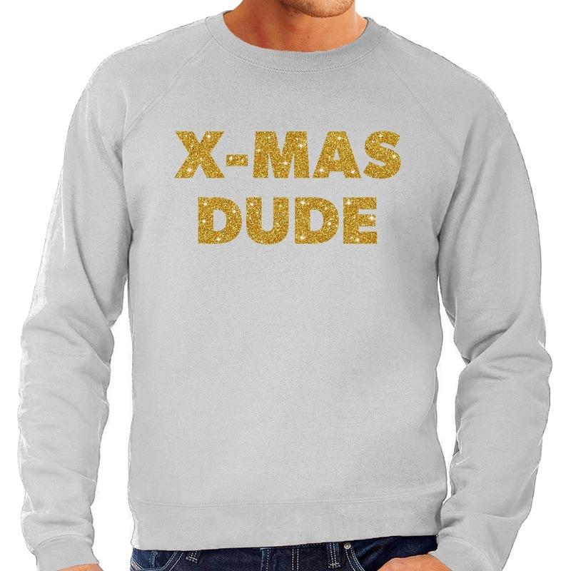 Foute kerstborrel trui / kersttrui x-mas dude goud / grijs heren 2XL (56) Grijs