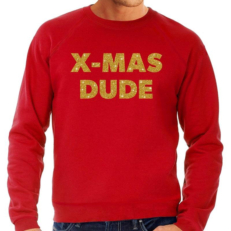 Foute kerstborrel trui / kersttrui x-mas dude goud / rood heren XL (54) Rood