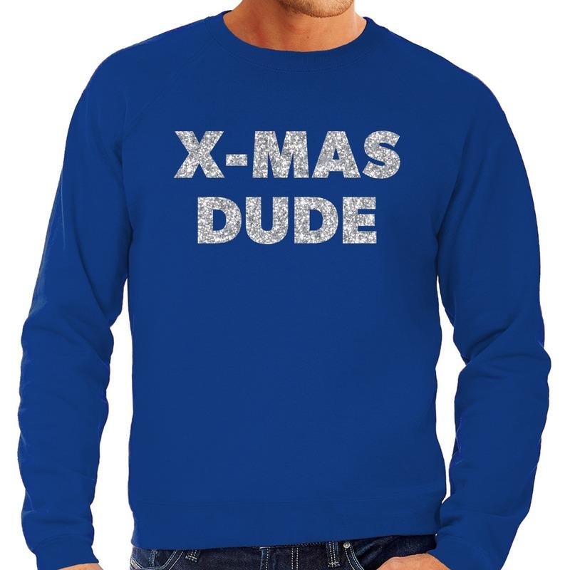 Foute kerstborrel trui / kersttrui x-mas dude zilver / blauw heren L (52) Blauw