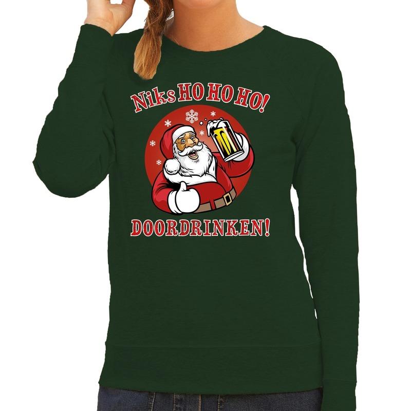 Foute kerstborrel trui / kersttrui zuipende kerstman niks ho ho ho doordrinken groen voor dames 2XL (44) Groen