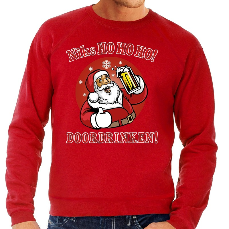 Foute kerstborrel trui / kersttrui zuipende kerstman niks ho ho ho doordrinken rood + rode tekst voor heren M (50) Rood