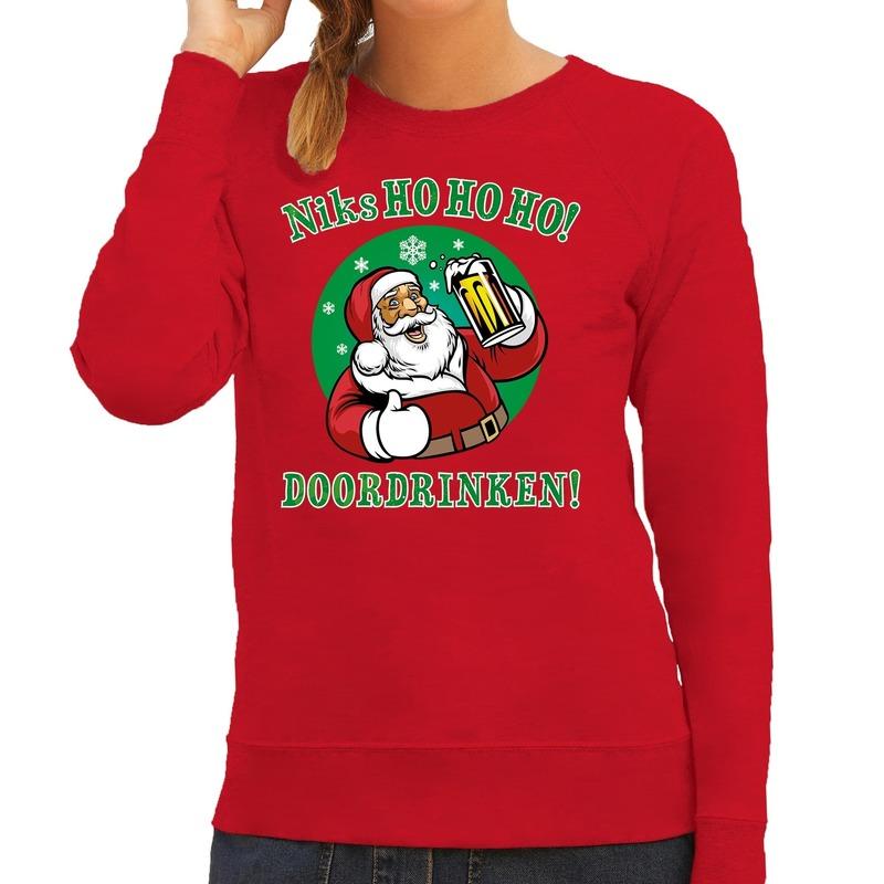 Foute kerstborrel trui / kersttrui zuipende kerstman niks ho ho ho doordrinken rood voor dames M (38) Rood