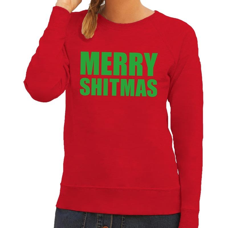 Foute kerstborrel trui rood Merry Shitmas dames XL (42) Rood