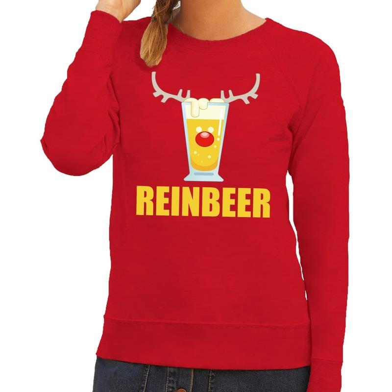 Foute kerstborrel trui rood Reinbeer dames XS (34) Rood