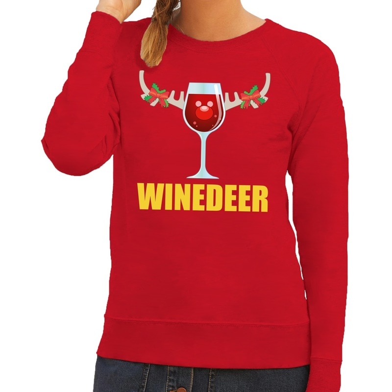 Foute kerstborrel trui rood Winedeer dames XS (34) Rood