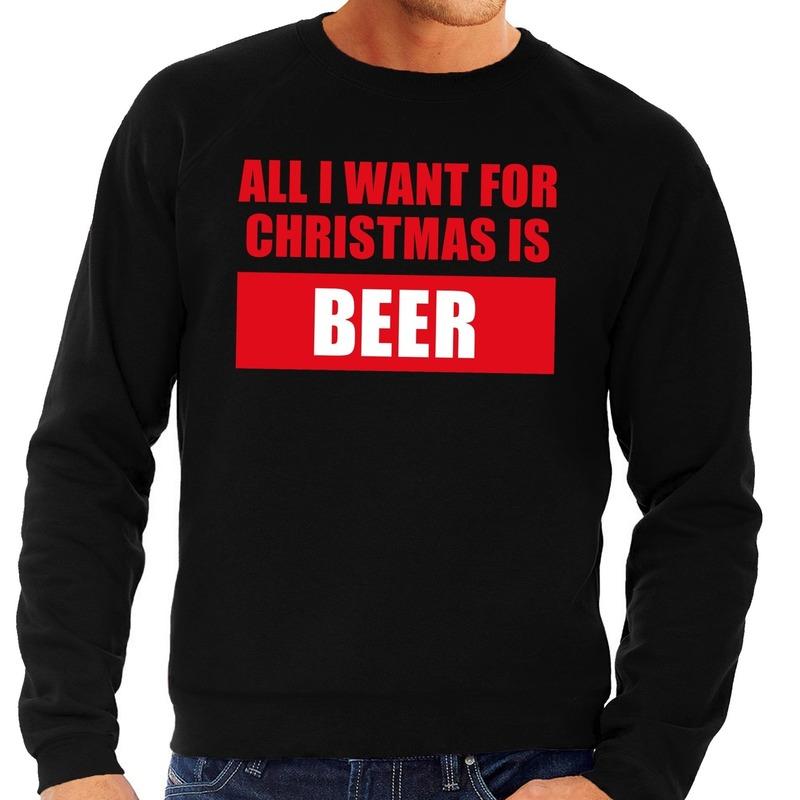 Foute kerstborrel trui zwart All I Want Is Beer heren 2XL (56) Zwart