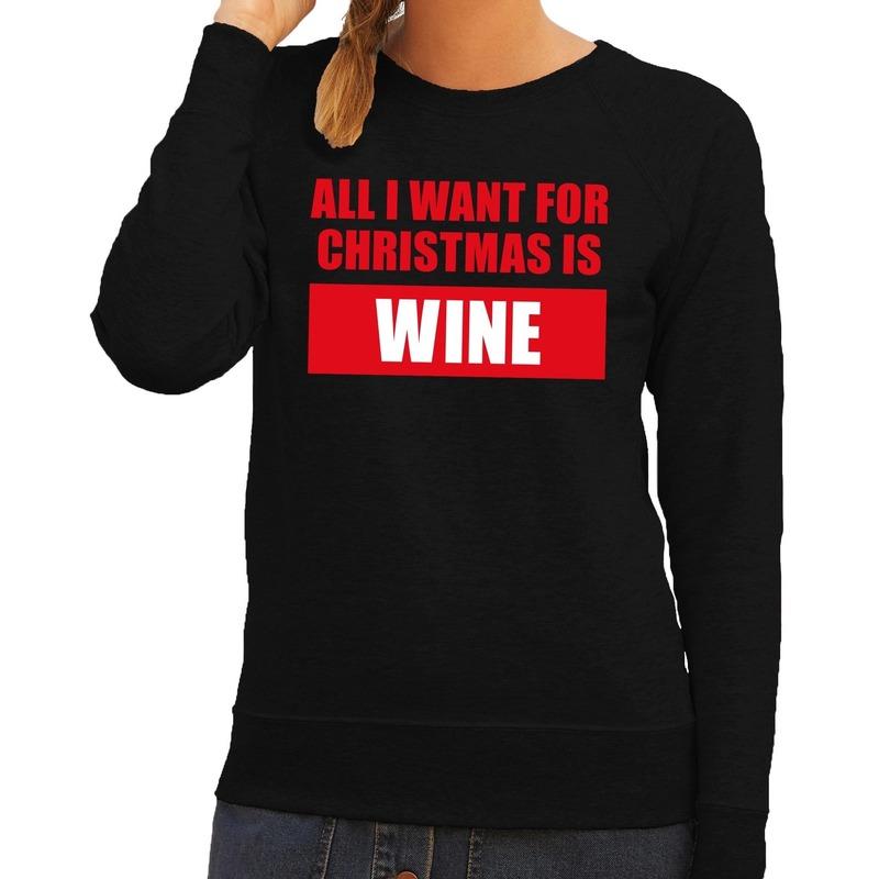 Foute kerstborrel trui zwart All I Want Is Wine dames S (36) Zwart