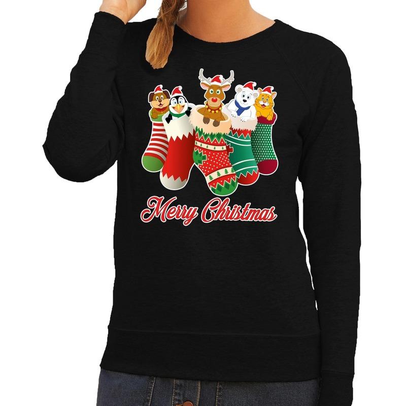 Foute kerstborrel trui zwart kerstsokken met diertjes voor dames S (36) Zwart