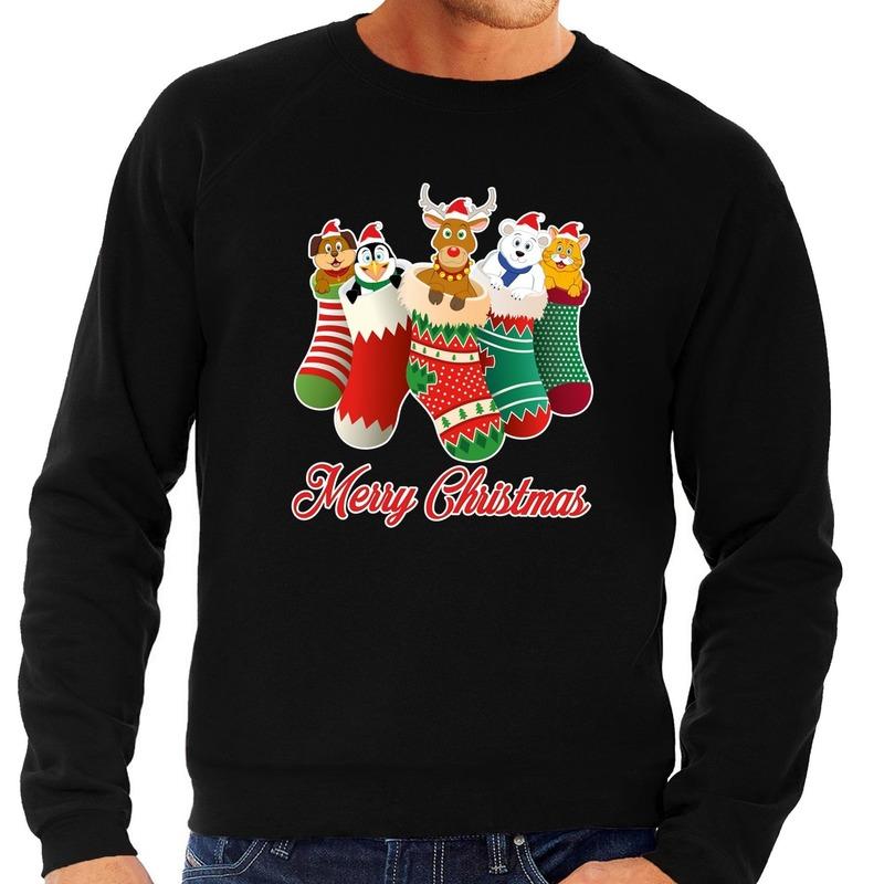 Foute kerstborrel trui zwart kerstsokken met diertjes voor heren XL (54) Zwart