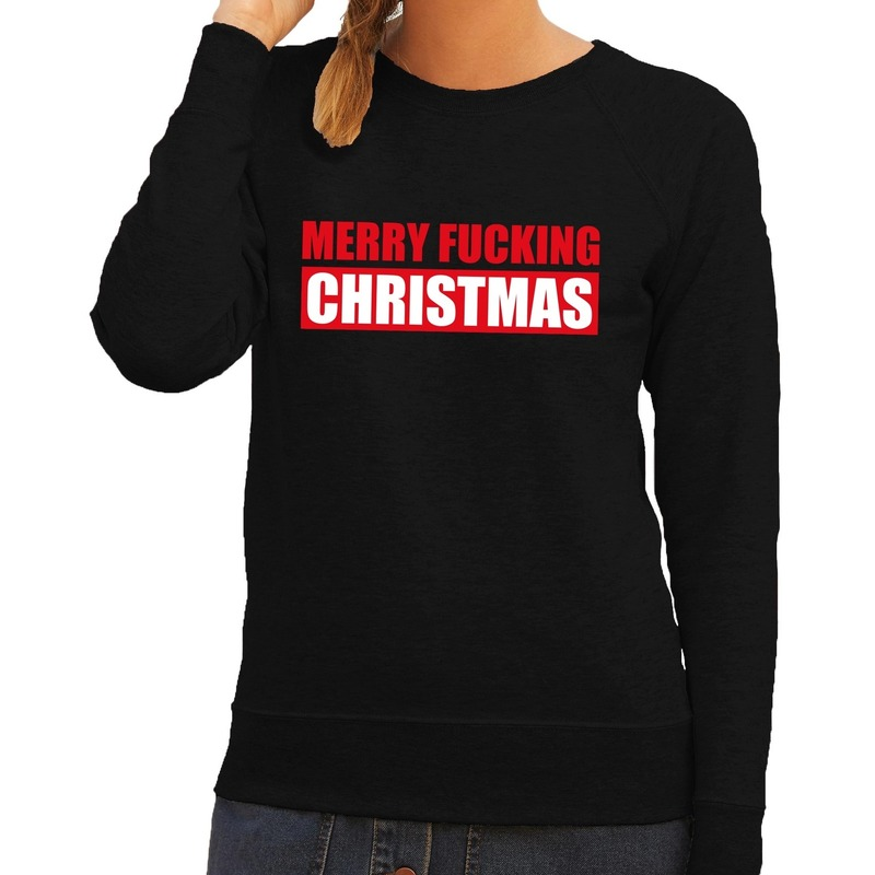 Foute kerstborrel trui zwart Merry Fucking Christmas dames 2XL (44) Zwart