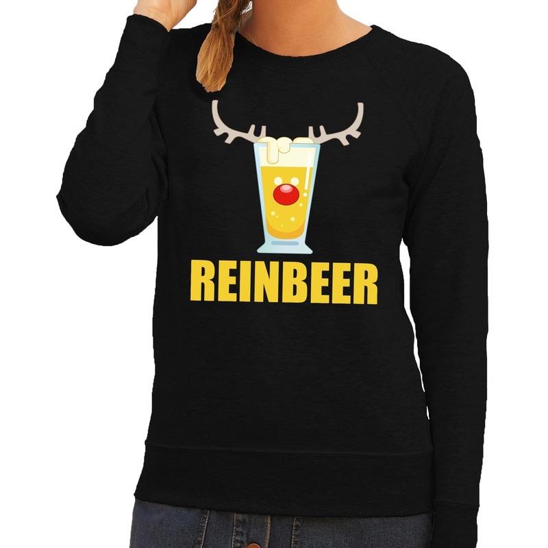 Foute kerstborrel trui zwart Reinbeer dames 2XL (44) Zwart