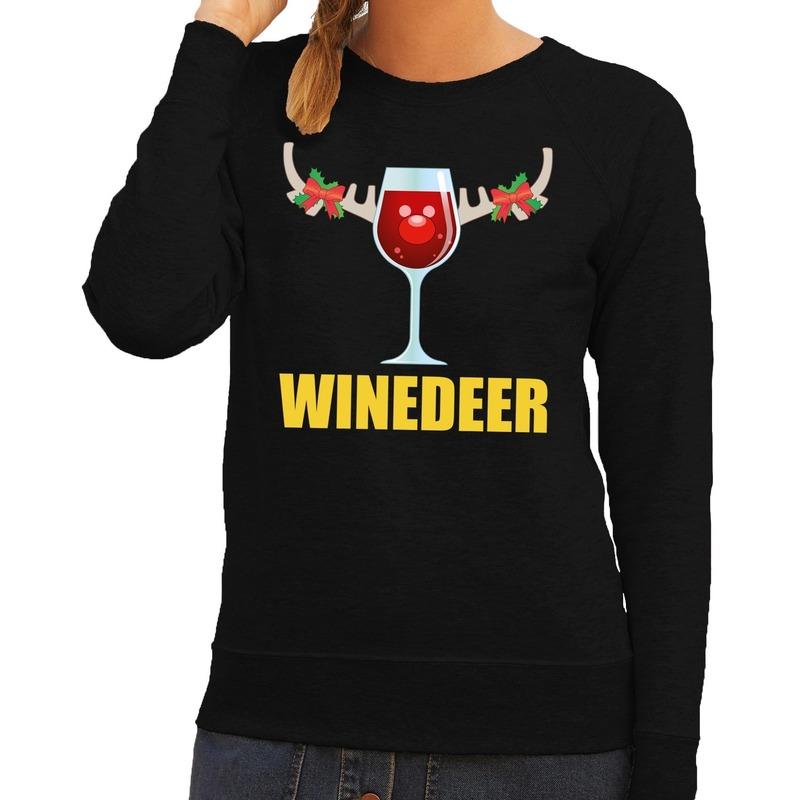 Foute kerstborrel trui zwart Winedeer dames M (38) Zwart