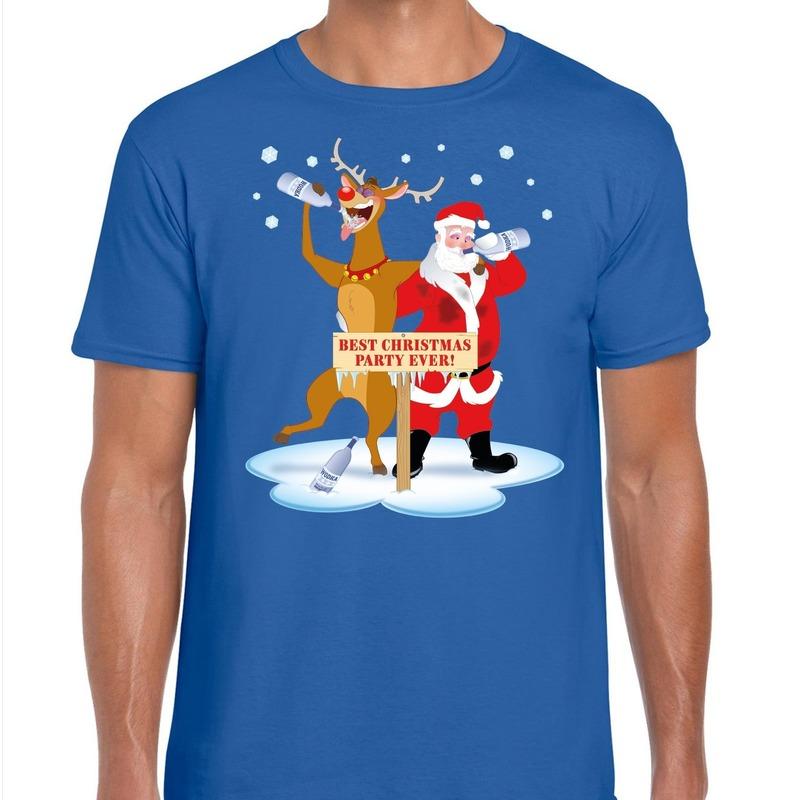 Foute Kerstmis shirt blauw met een dronken kerstman en Rudolf voor heren 2XL Blauw