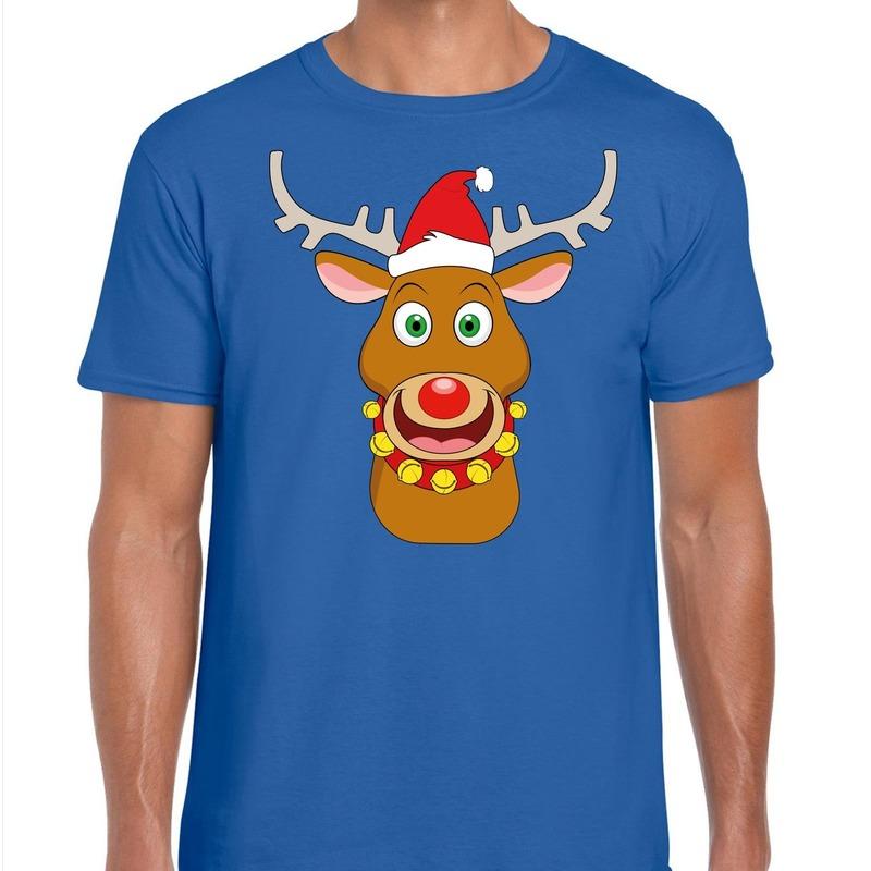 Foute Kerstmis shirt blauw met Ruldolf het rendier met rode muts voor heren L -