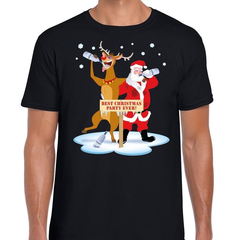 Foute Kerstmis shirt zwart met een dronken kerstman en Rudolf voor heren XL Zwart