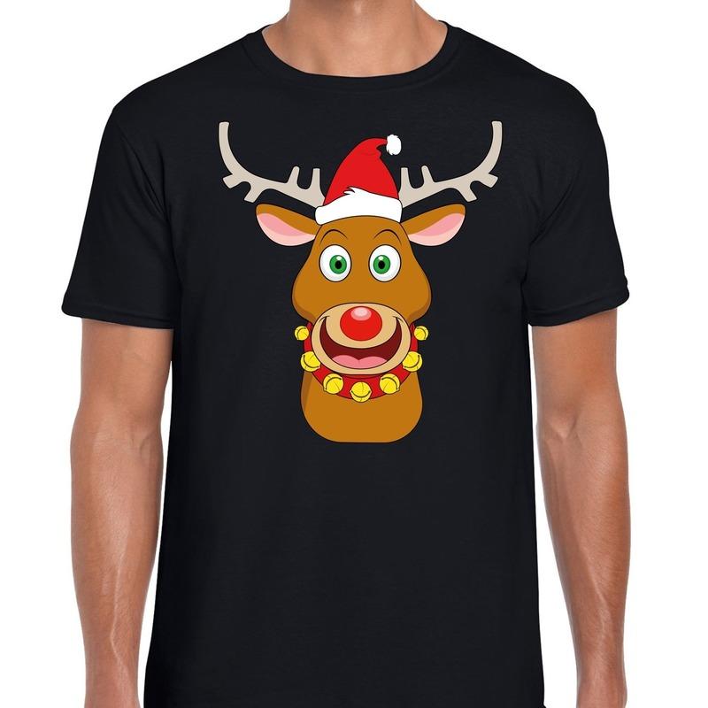 Foute Kerstmis shirt zwart met Ruldolf het rendier met rode muts voor heren 2XL Zwart