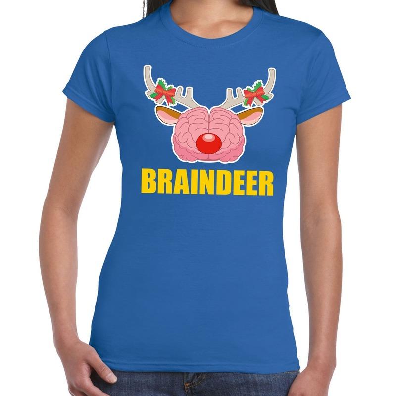 Foute Kerstmis t-shirt braindeer blauw voor dames XS (34) Blauw