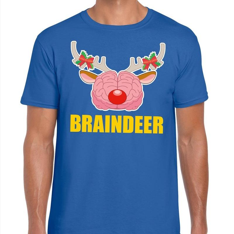 Foute Kerstmis t-shirt braindeer blauw voor heren L Blauw