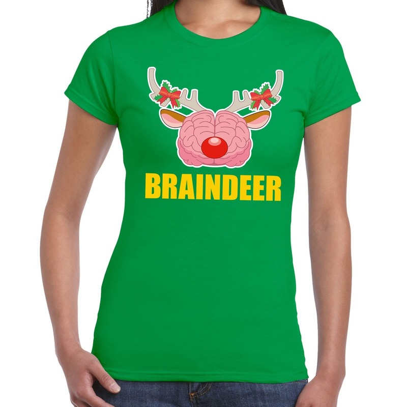 Foute Kerstmis t-shirt braindeer groen voor dames XS (34) Groen